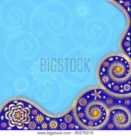 Card Background With Gold Ornaments And Precious Stones