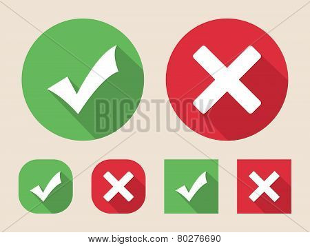 Checkmark and cross icons