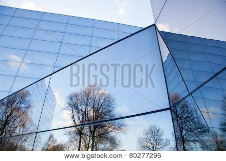 Glass Facades Of Modern Office Building And Reflection Of Trees