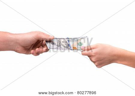 hand giving dollar to other person