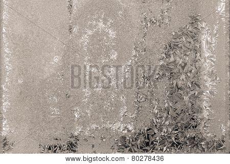 Winter Silvery Beige Patterns On Glass