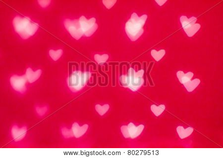 Abstract Valentine's Day Background With Red Hearts. Glow Colorful Soft Hearts For Valentines Day Ba