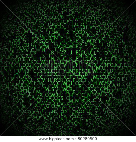 Matrix Background With The Green Symbols, Motion Blur. Vector