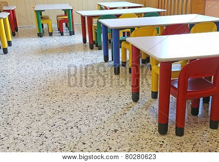 Chairs And Small Tables In The Dining Room Of The Nursery