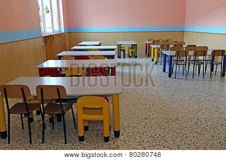 Refectory Of Kindergarten With Small Tables And Chairs For Children