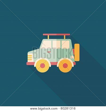 Transportation Sports Utility Vehicle Flat Icon With Long Shadow,eps10
