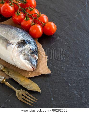 Fresh Dorado Fish And Tomatoes