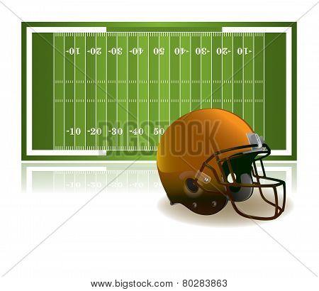 American Football Helmet And Field Illustration