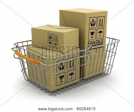 Shopping Basket and packages (clipping path included)