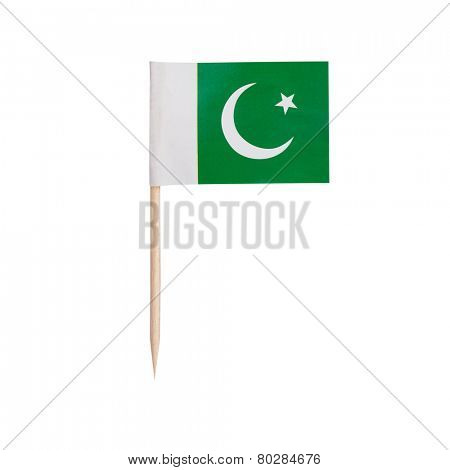 Miniature Flag Pakistan. Small Paper toothpick Pakistani flag . Isolated on white background