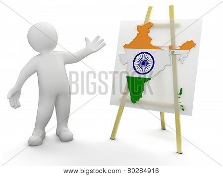 Man and Indian map (clipping path included)