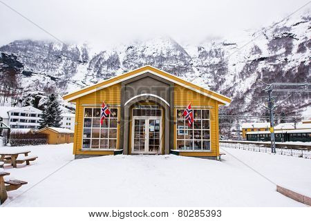 Flam, Norway - December 28, 2014: Station old Flam Railway. Flamsbana museum.