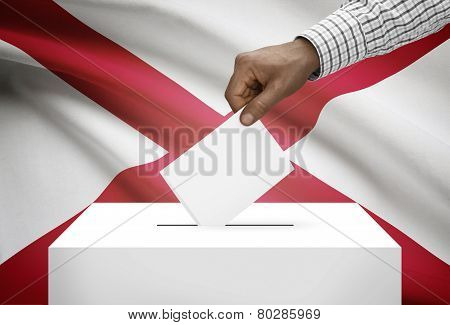 Voting Concept - Ballot Box With Us State Flag On Background - Alabama