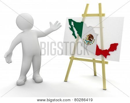 Man and Mexican map (clipping path included)