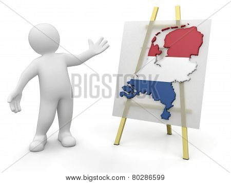 Man and Netherlands map (clipping path included)