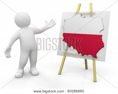 Man and Polish map (clipping path included)