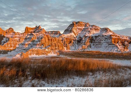 Rugged Peaks In The Badlands In Winter
