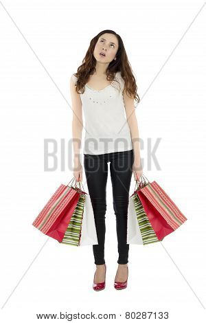 Bored Shopping Woman Carrying Paper Bags