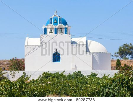Chapel In The Vineyard.santorini Island. Greece.