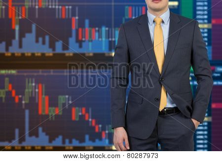 Businessman And Color Stock Chart