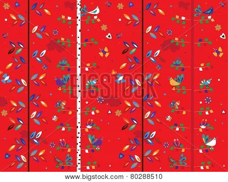 Bird and trees seamless pattern
