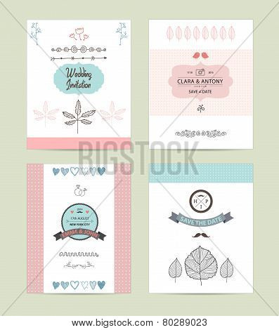 Hand drawn collection of romantic vintage hipster invitations. Wedding, marriage, bridal, birthday,