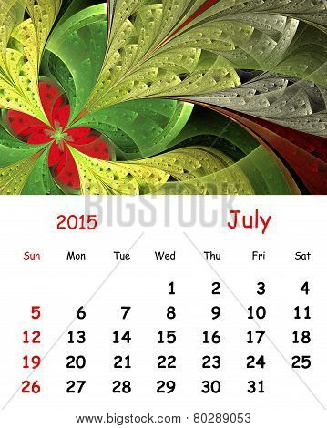 2015 Calendar. July.fractal Pattern In Stained Glass Style.