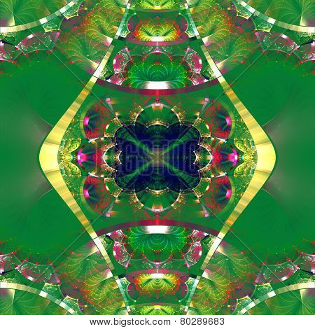 Symmetrical Fractal Pattern With Shiny Strips. Collection -  Rhinestones. On Green Background.