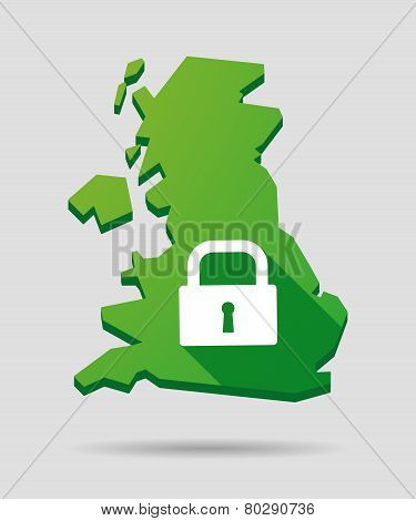 United Kingdom Map Icon With A Lock Pad