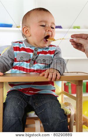 Baby Child Eating Porridge