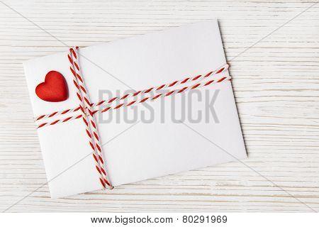 Envelope Mail, Red Heart Ribbon on White. Valentine Day, Love Wedding Concept