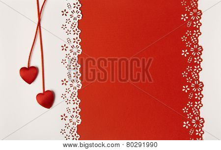 Valentine Day Hearts Red Background. Empty Greeting Card Decorative Love Template. Wedding Concept