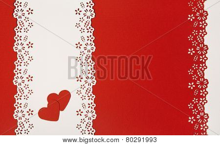 Valentine Day Hearts Red Background. Empty Greeting Card Decorative Template. Wedding Love Concept.