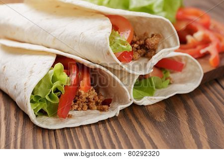 Fresh Tortilla Wraps With Meat And Vegetables