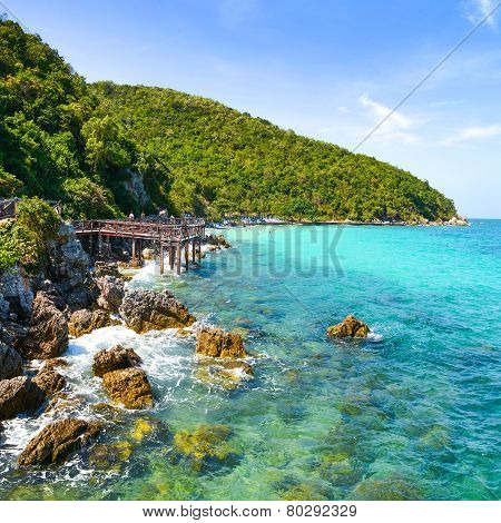Jetty To A Tropical Beach On Island, At Koh Lan Island Pattaya.