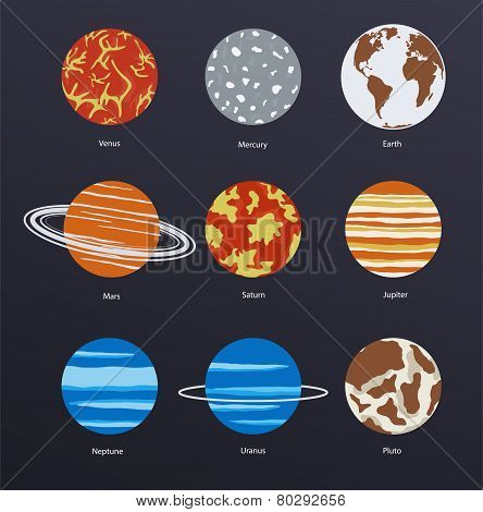 Planets Icons On Dark Background
