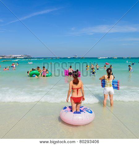 Tourists Playing At Beach, In Koh Larn, Pattaya, Thailand