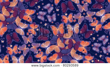 Seamless colorful butterfly pattern illustration