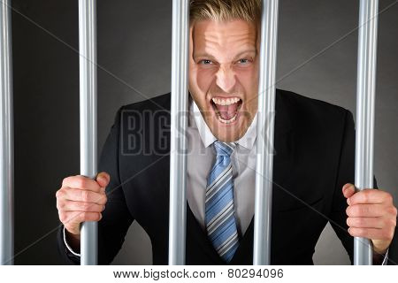 Aggressive Businessman Behind Bars