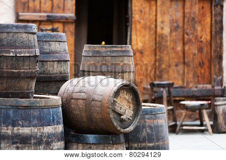 Antique Oak Barrels With Steel Hoops