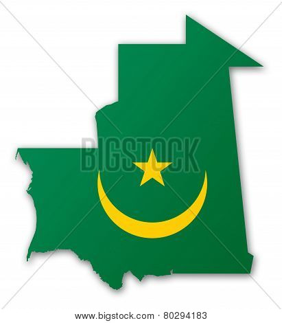 Map And Flag Of Mauritania