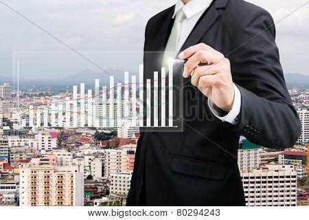 Businessman Standing Posture Hand Hold A Pen