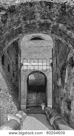 Rome Colosseum Interior Arches Mono