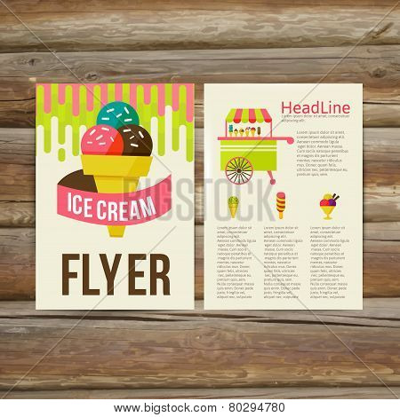 Abstract  Brochure Flyer design vector template. stylish ice cream