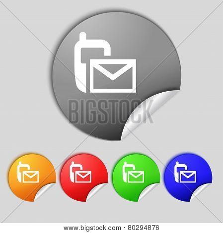 Mail Icon. Envelope Symbol. Message Sms Sign.navigation Button. Set Colour Buttons.