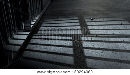 Jail Cell Bars Cast Shadows