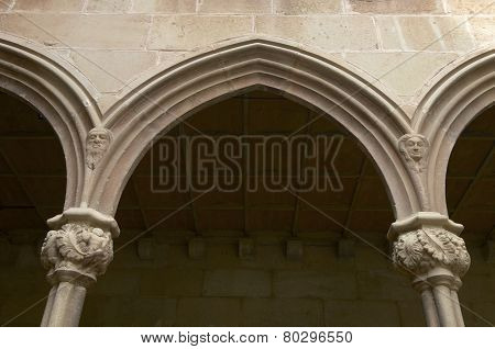 Cloister of the Benedictine monastery of Montserrat, Monistrol of Montserrat, Barcelona, Catalonia, Spain.