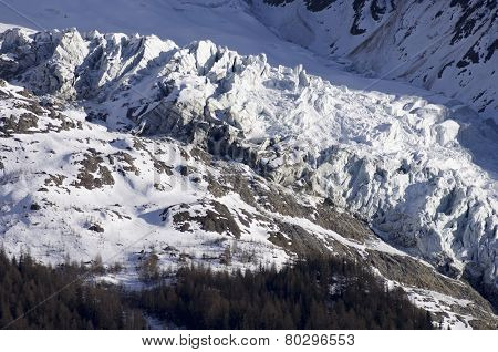 Glacier view, Chamonix, Mont Blanc Massif, Alps, France