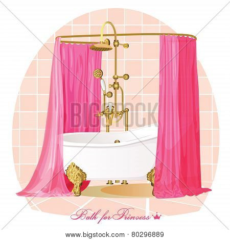 White bathtub and pink blinds