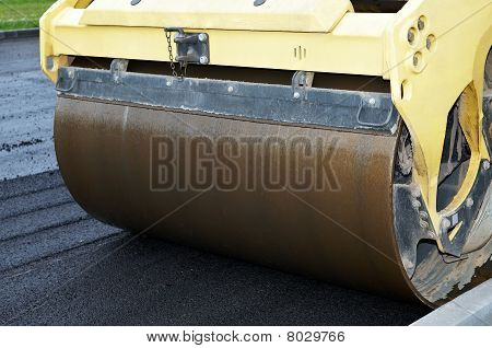 Close-up Of Asphalt Vibration Roller